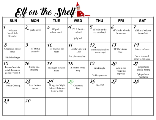 Elf on the shelf Schedule
